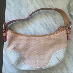 Coach Pink & White Baguette Crescent Soho Hobo